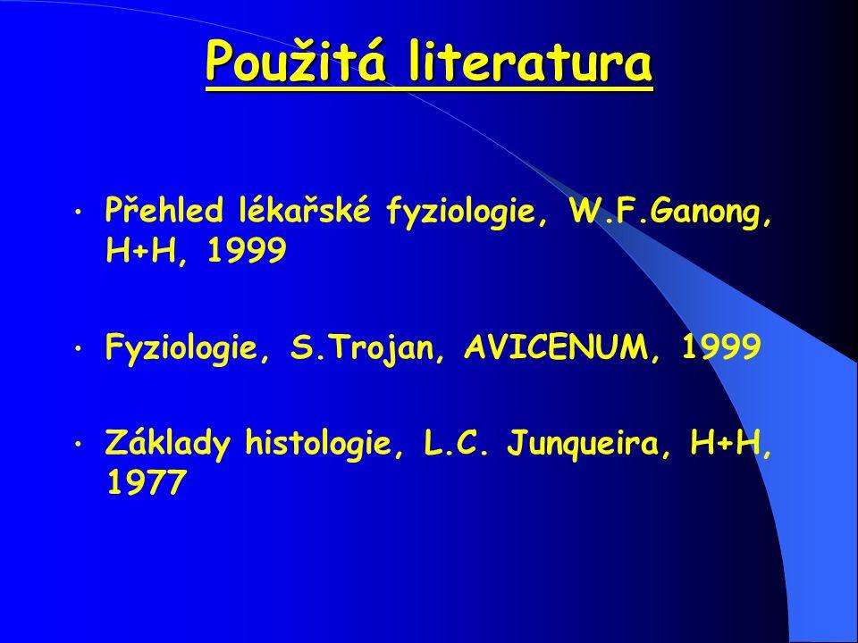 Použitá literatura Přehled lékařské fyziologie, W.F.Ganong, H+H, 1999