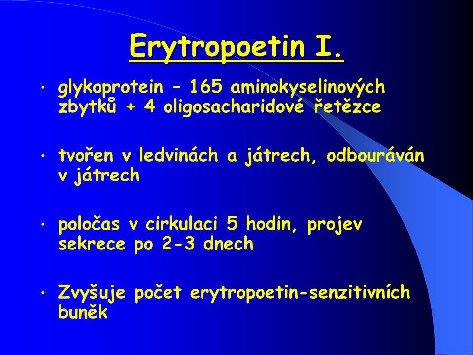 Erytropoetin I. glykoprotein – 165 aminokyselinových zbytků + 4 oligosacharidové řetězce. tvořen v ledvinách a játrech, odbouráván v játrech.