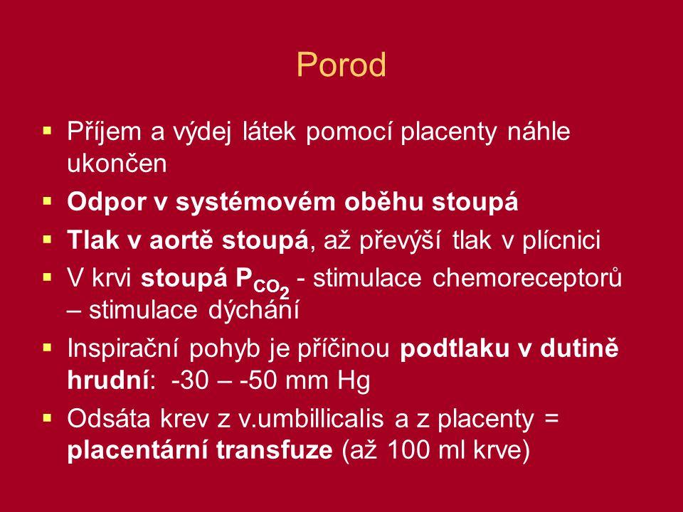 Porod Příjem a výdej látek pomocí placenty náhle ukončen
