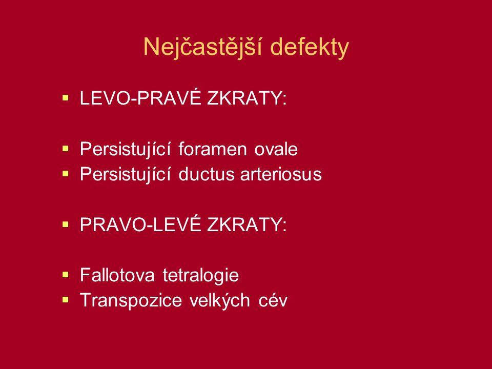 Nejčastější defekty LEVO-PRAVÉ ZKRATY: Persistující foramen ovale