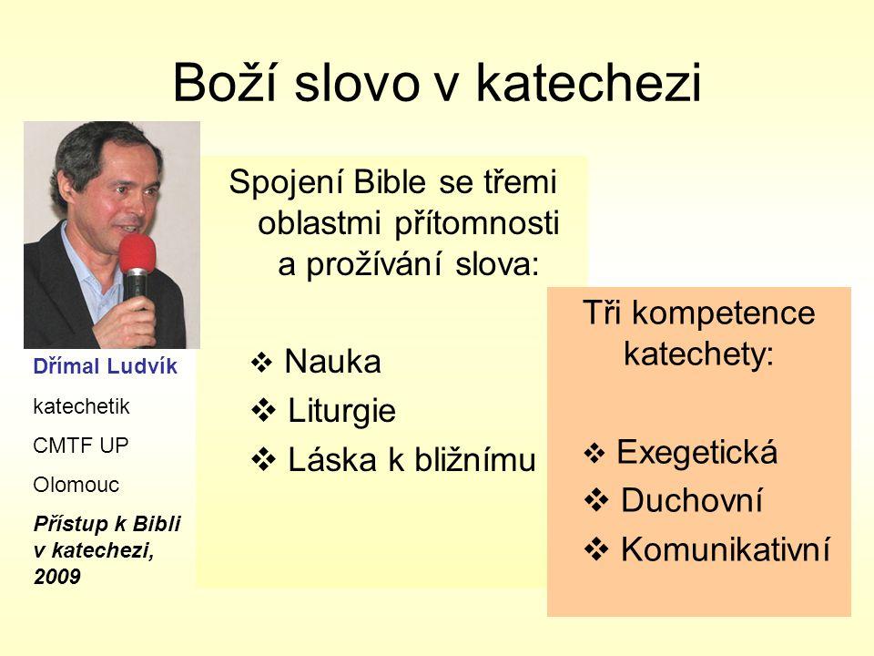 Boží slovo v katechezi Spojení Bible se třemi oblastmi přítomnosti a prožívání slova: Nauka. Liturgie.