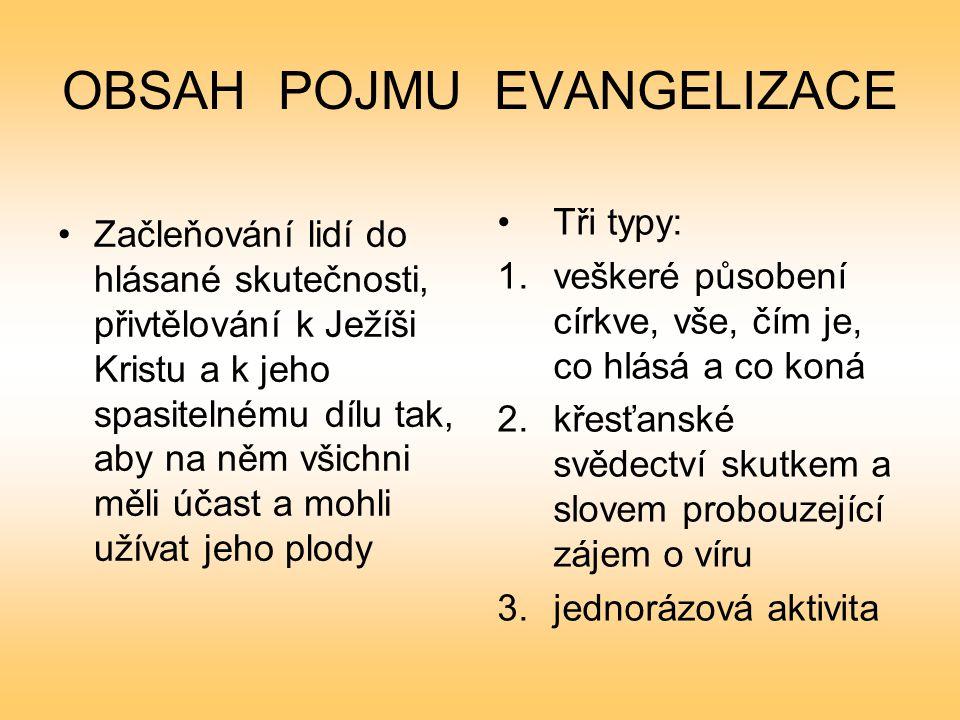 OBSAH POJMU EVANGELIZACE