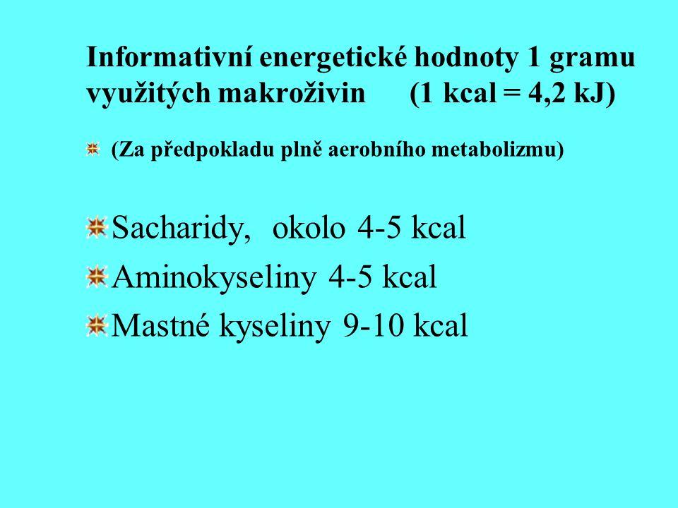 Sacharidy, okolo 4-5 kcal Aminokyseliny 4-5 kcal