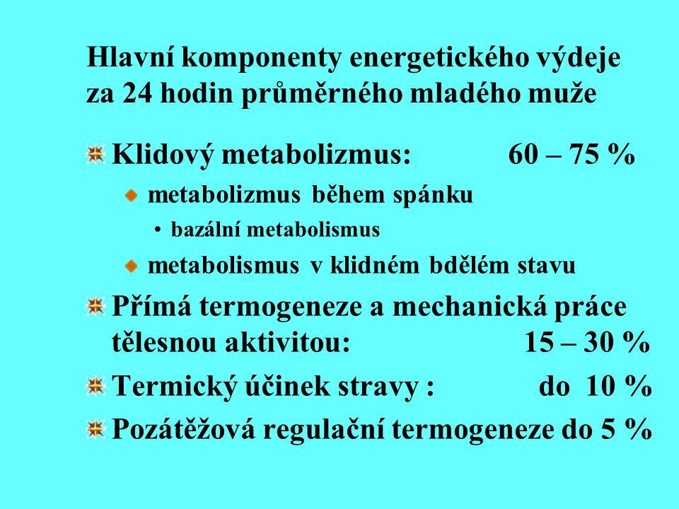 Klidový metabolizmus: 60 – 75 %