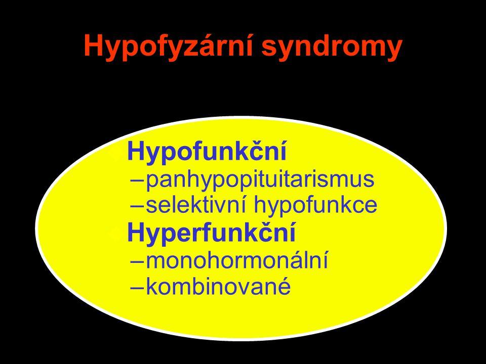 Hypofyzární syndromy Hypofunkční Hyperfunkční panhypopituitarismus