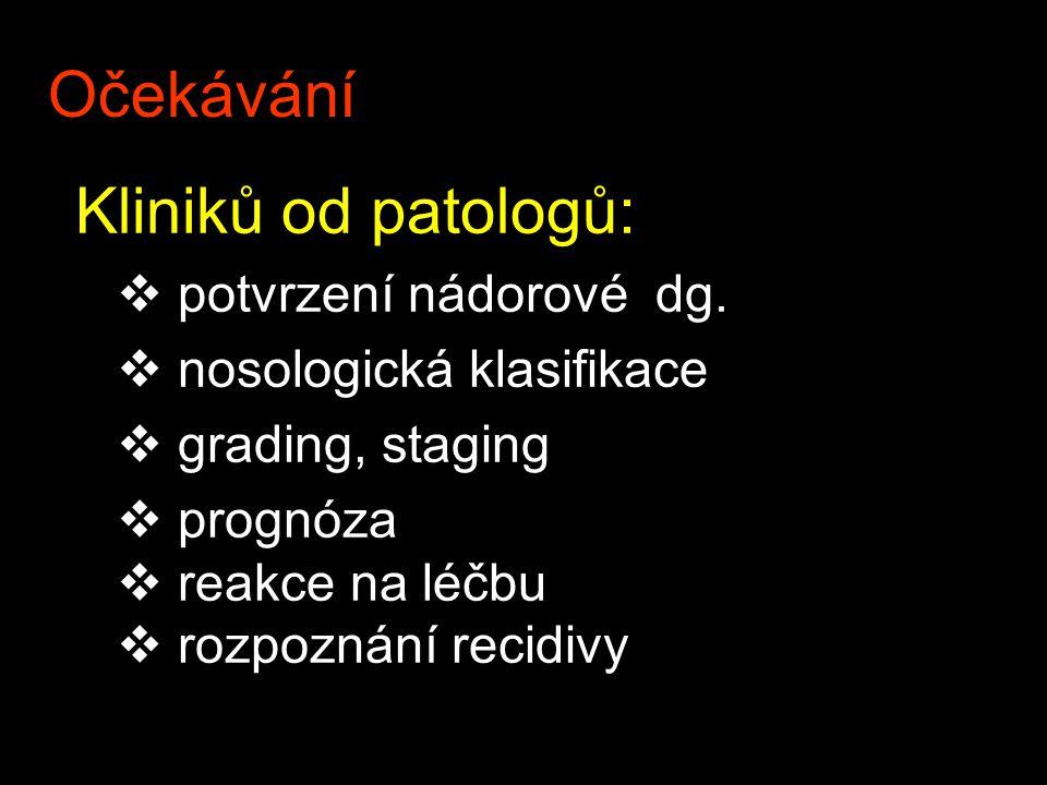 Očekávání potvrzení nádorové dg. nosologická klasifikace