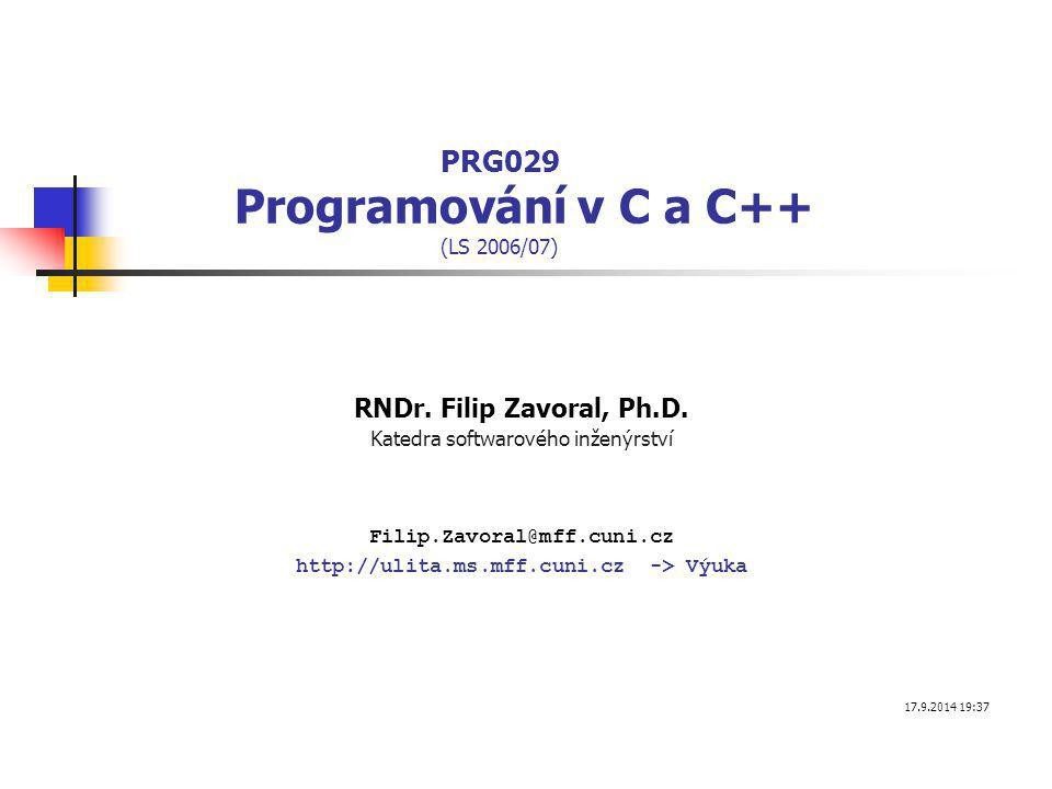PRG029 Programování v C a C++ (LS 2006/07)