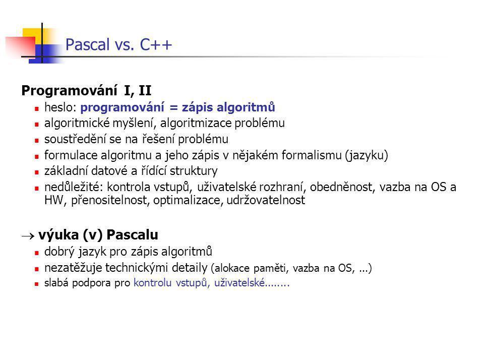 Pascal vs. C++ Programování I, II  výuka (v) Pascalu