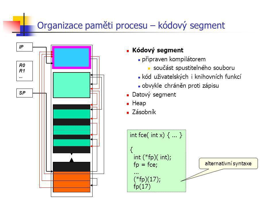 Organizace paměti procesu – kódový segment