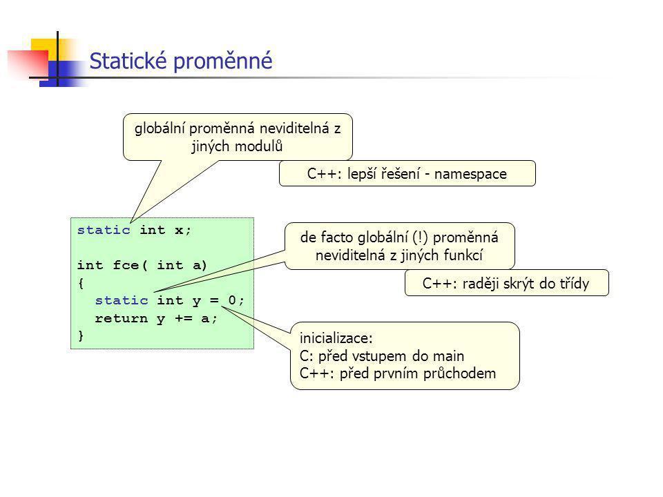 Statické proměnné globální proměnná neviditelná z jiných modulů