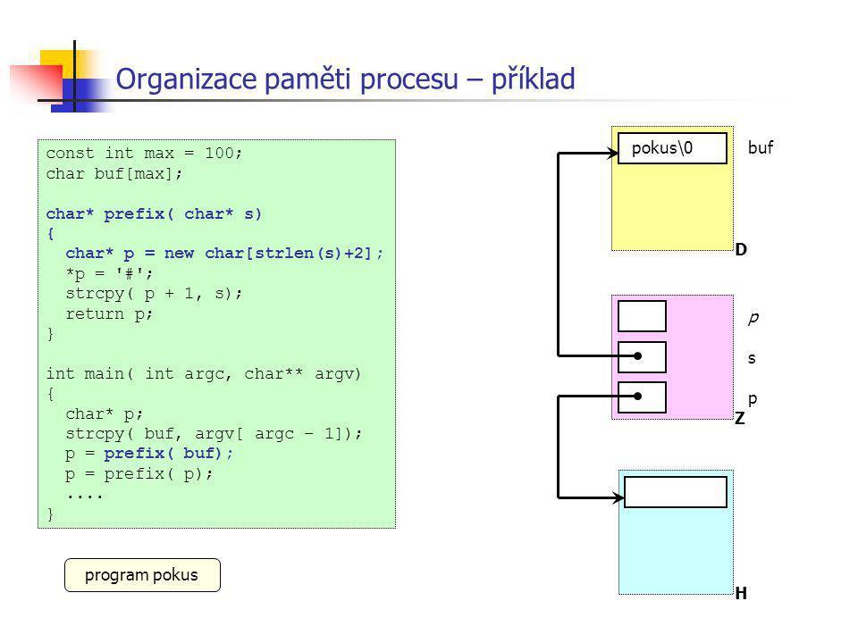 Organizace paměti procesu – příklad