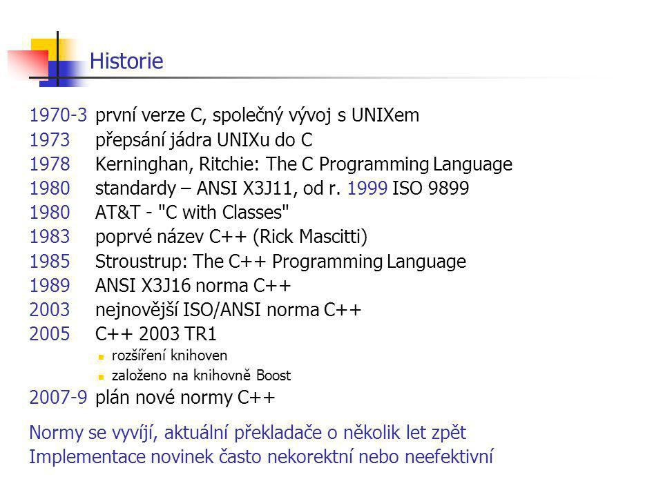 Historie 1970-3 první verze C, společný vývoj s UNIXem