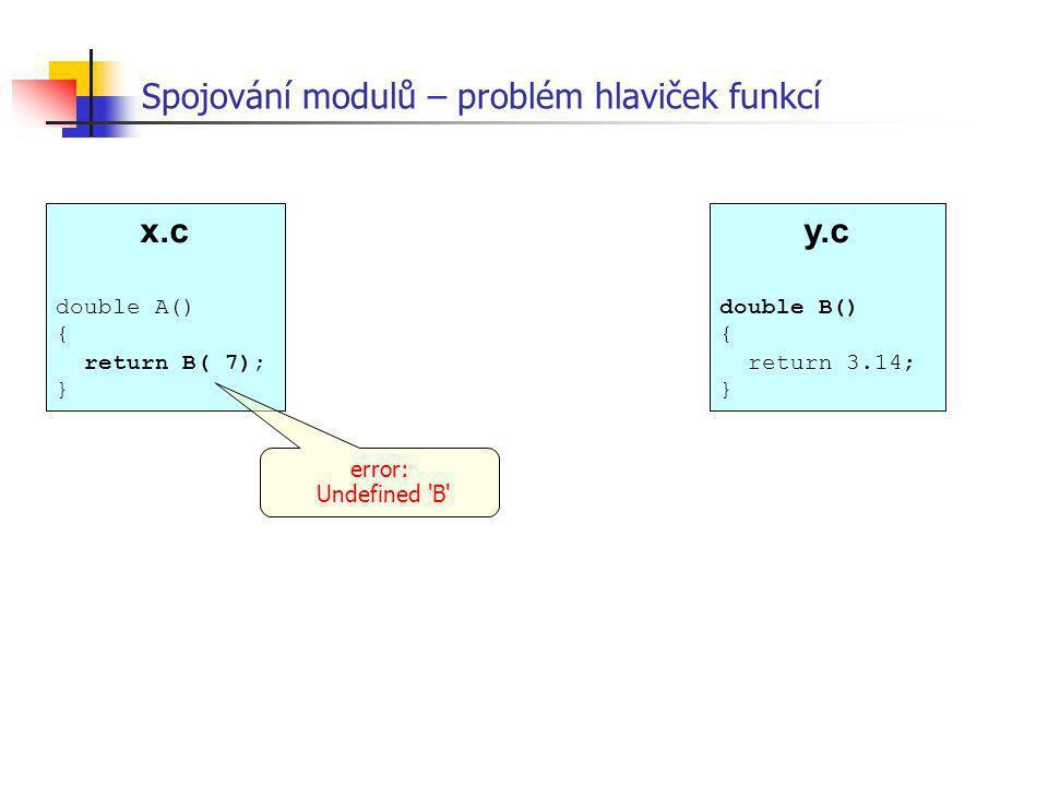 Spojování modulů – problém hlaviček funkcí