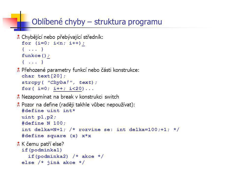 Oblíbené chyby – struktura programu