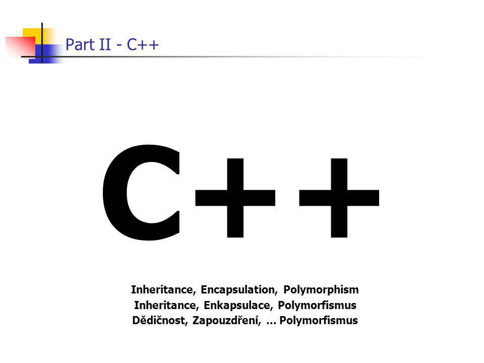 C++ Part II - C++ Inheritance, Encapsulation, Polymorphism