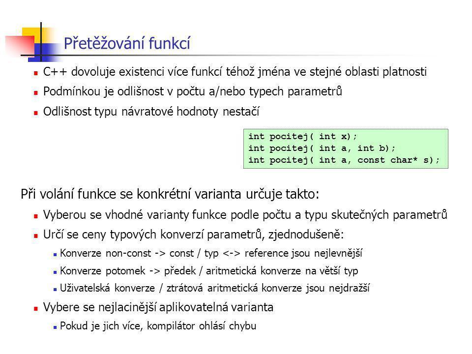 Přetěžování funkcí C++ dovoluje existenci více funkcí téhož jména ve stejné oblasti platnosti.