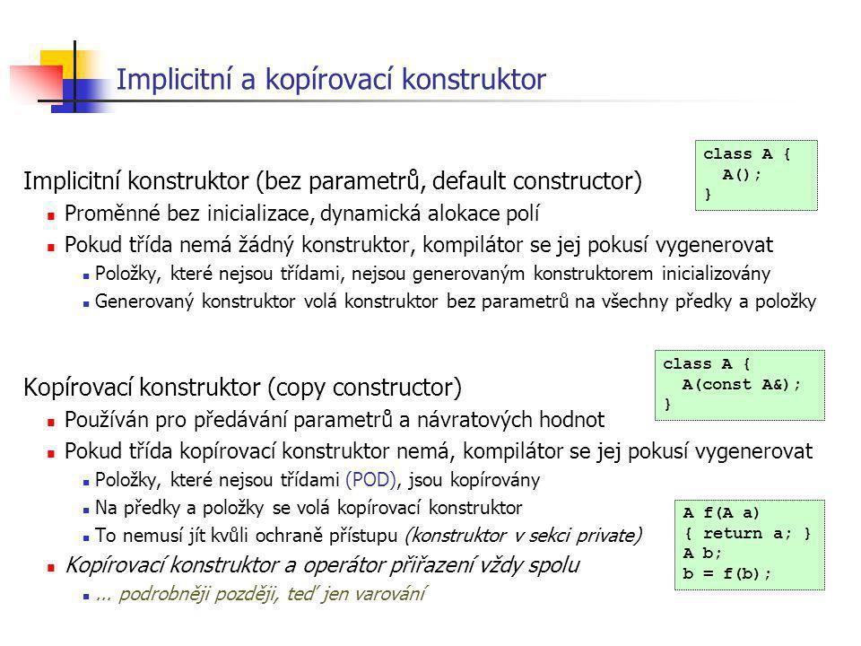 Implicitní a kopírovací konstruktor
