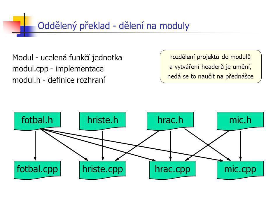 Oddělený překlad - dělení na moduly