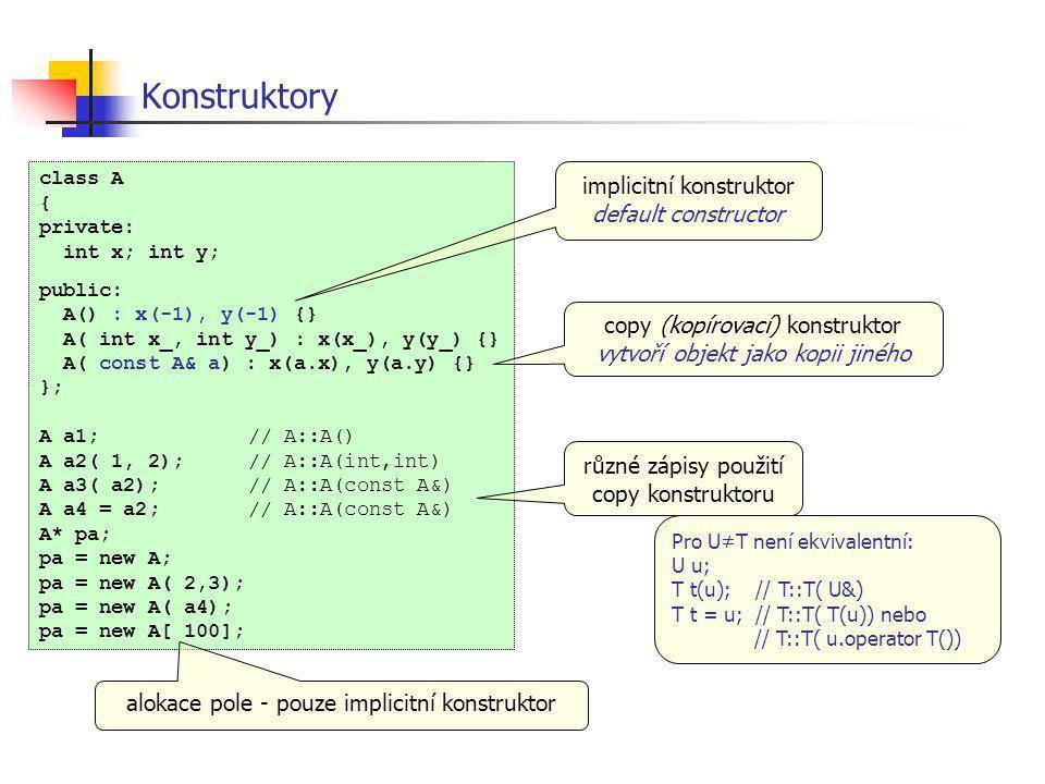 Konstruktory implicitní konstruktor default constructor