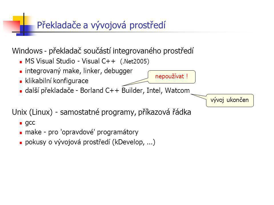 Překladače a vývojová prostředí