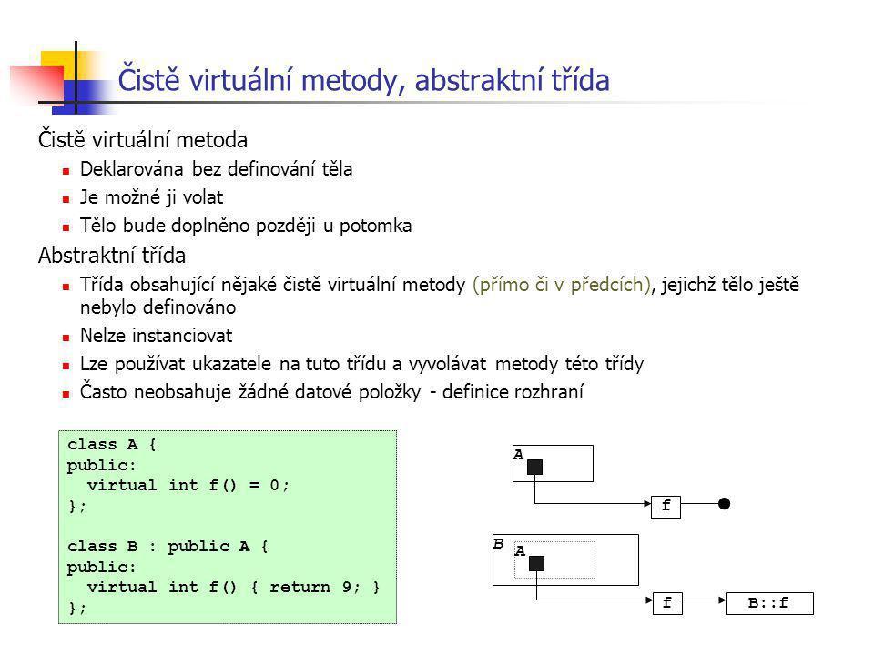 Čistě virtuální metody, abstraktní třída