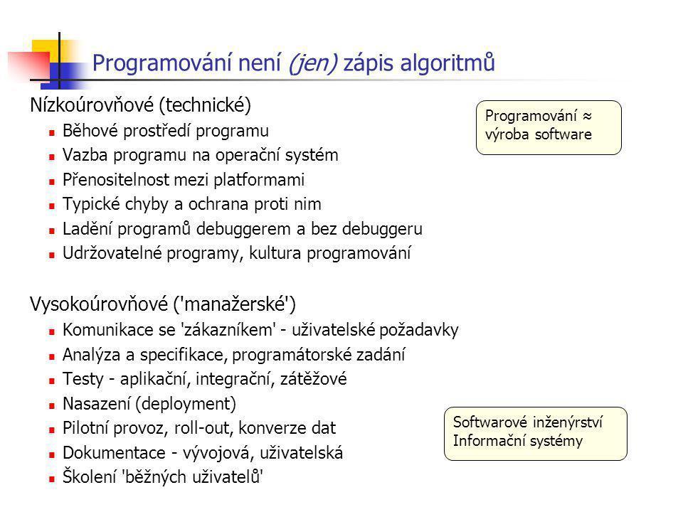 Programování není (jen) zápis algoritmů