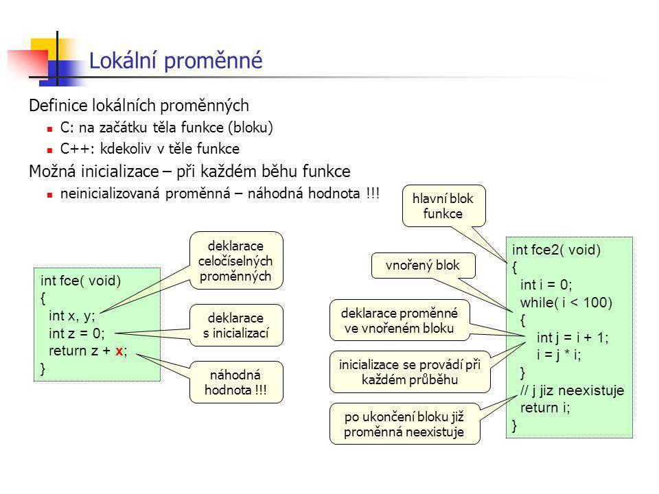Lokální proměnné Definice lokálních proměnných