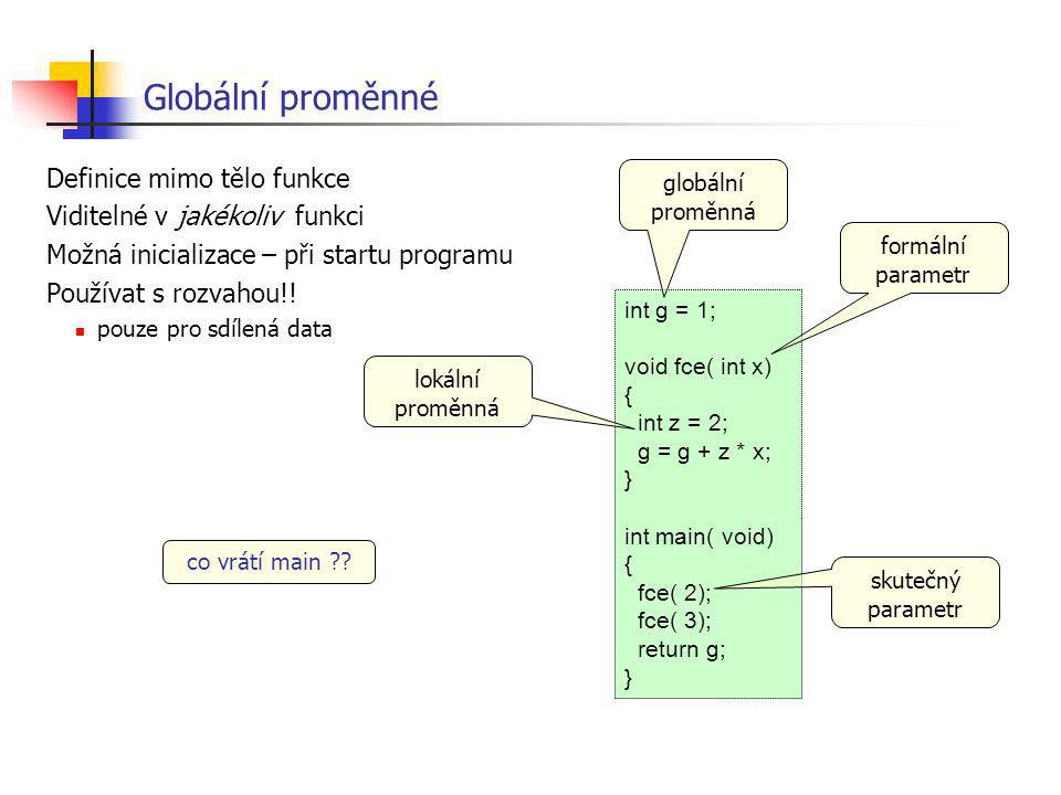 Globální proměnné Definice mimo tělo funkce