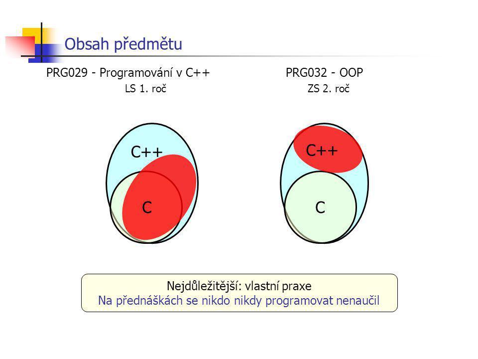 Obsah předmětu C++ C++ C C LS 1. roč ZS 2. roč
