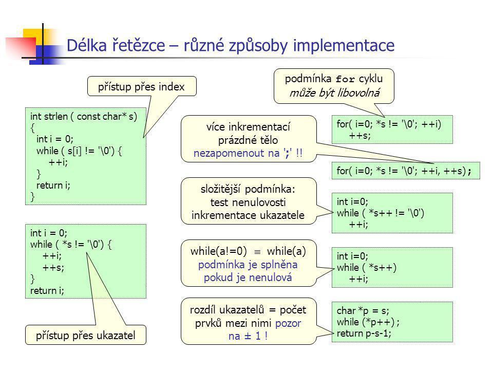 Délka řetězce – různé způsoby implementace