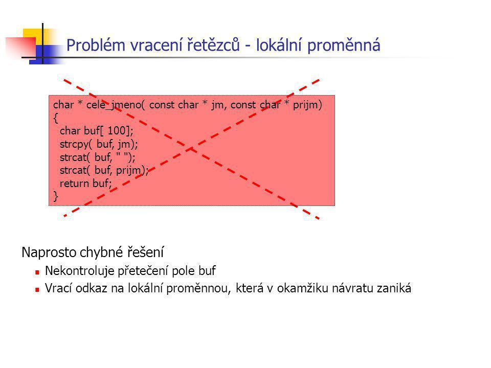 Problém vracení řetězců - lokální proměnná