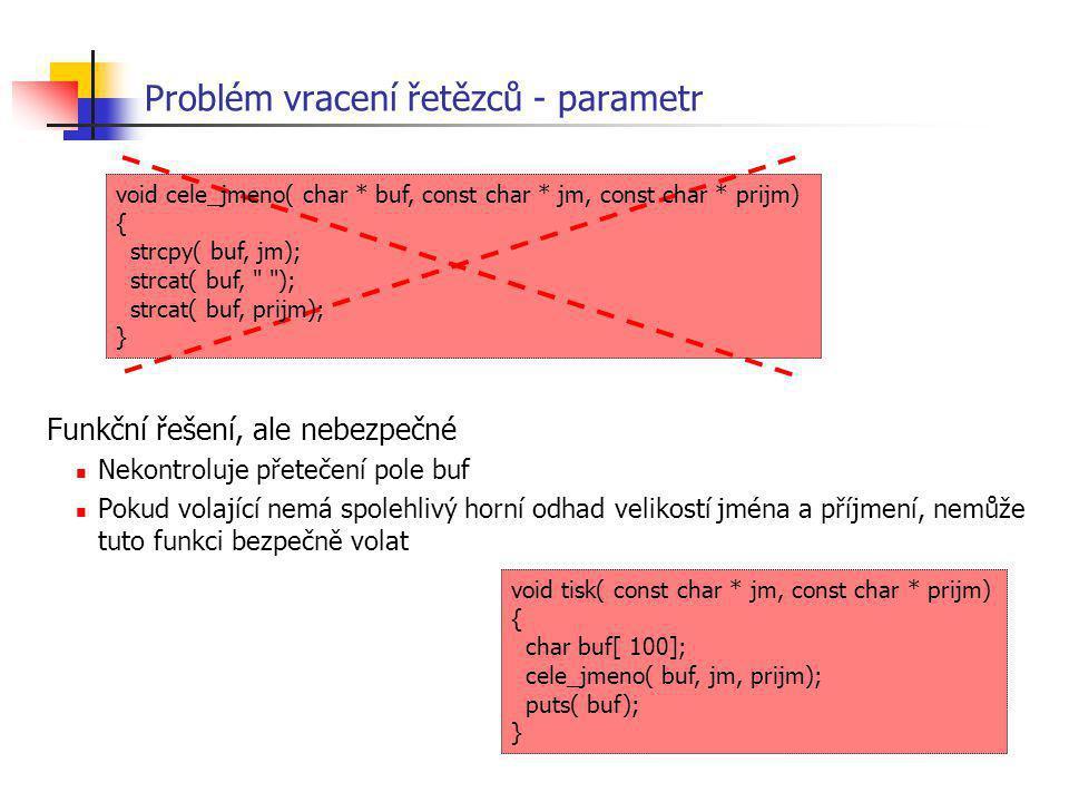 Problém vracení řetězců - parametr