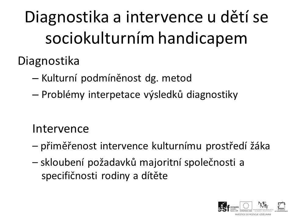 Diagnostika a intervence u dětí se sociokulturním handicapem