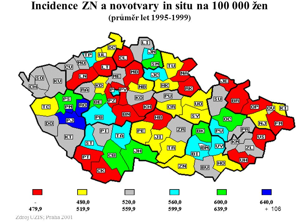 Incidence ZN a novotvary in situ na 100 000 žen (průměr let 1995-1999)