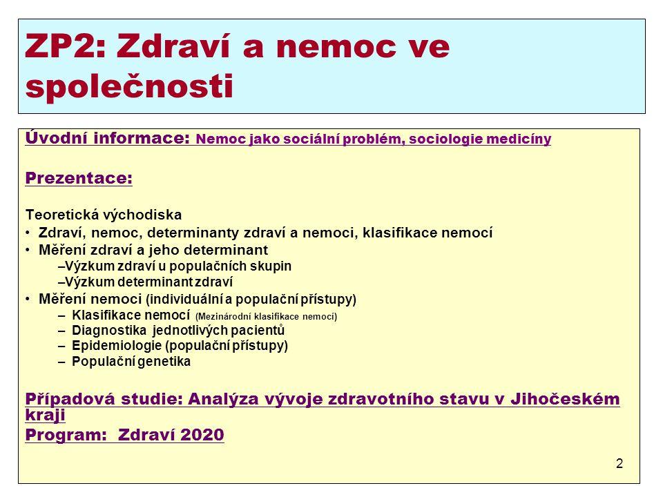 ZP2: Zdraví a nemoc ve společnosti
