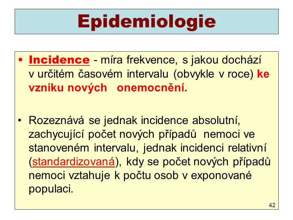 Epidemiologie Incidence - míra frekvence, s jakou dochází v určitém časovém intervalu (obvykle v roce) ke vzniku nových onemocnění.