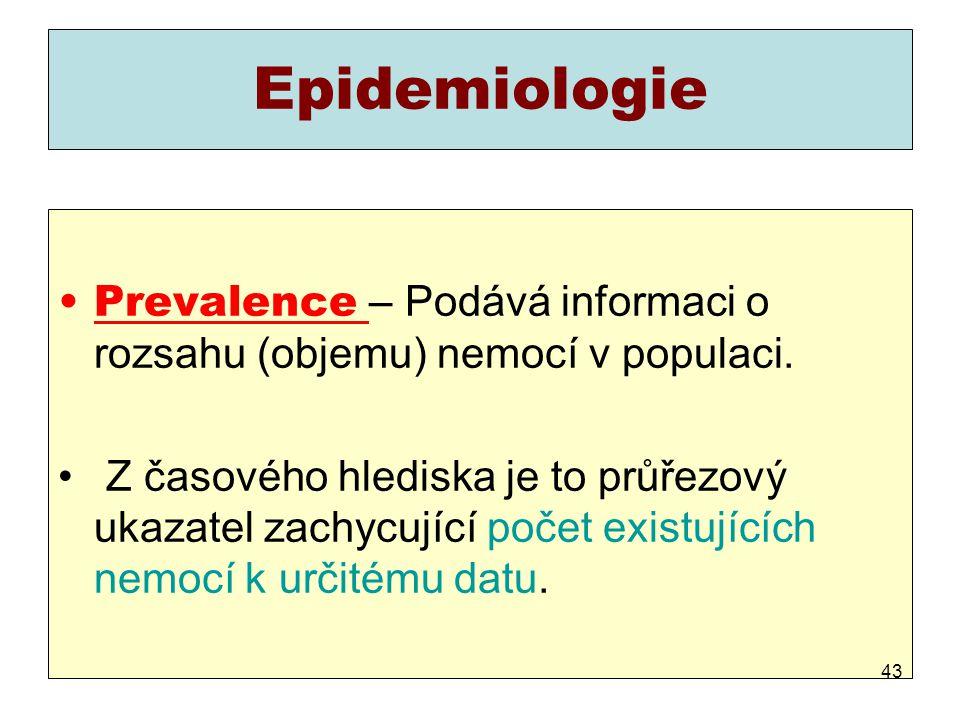 Epidemiologie Prevalence – Podává informaci o rozsahu (objemu) nemocí v populaci.