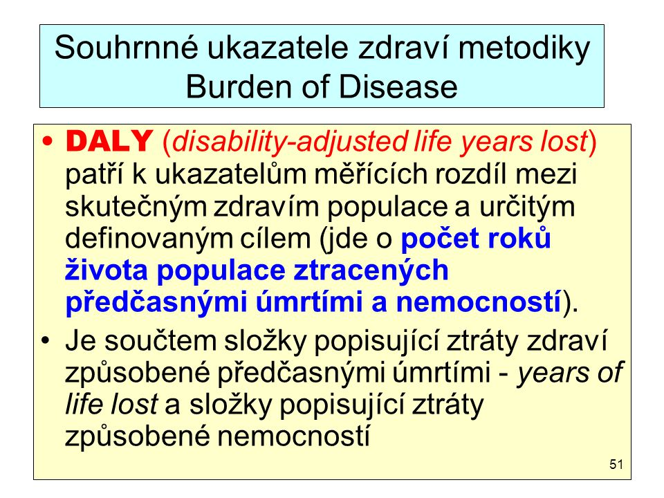Souhrnné ukazatele zdraví metodiky Burden of Disease