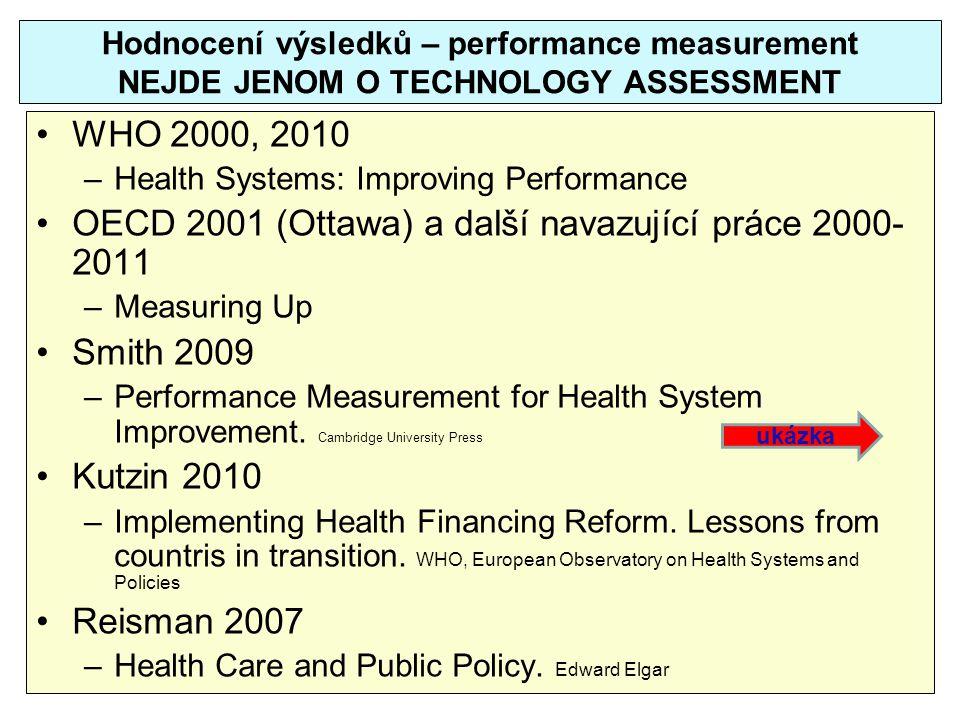 OECD 2001 (Ottawa) a další navazující práce 2000-2011