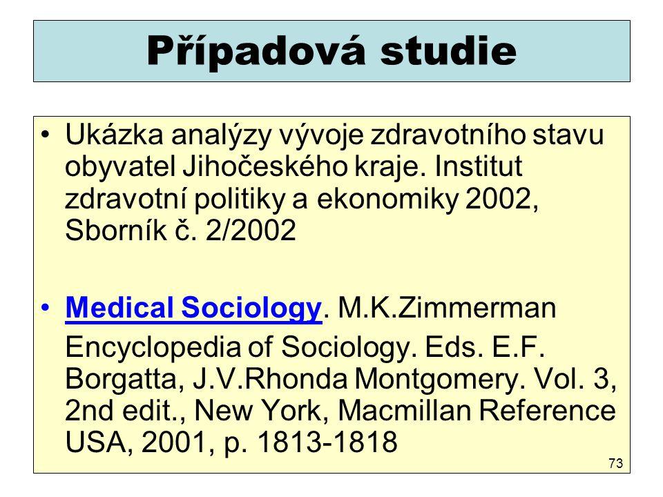 Případová studie Ukázka analýzy vývoje zdravotního stavu obyvatel Jihočeského kraje. Institut zdravotní politiky a ekonomiky 2002, Sborník č. 2/2002.
