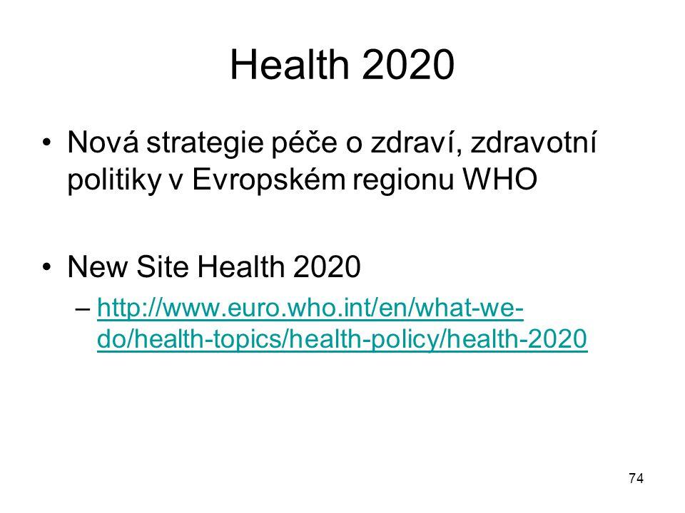 Health 2020 Nová strategie péče o zdraví, zdravotní politiky v Evropském regionu WHO. New Site Health 2020.