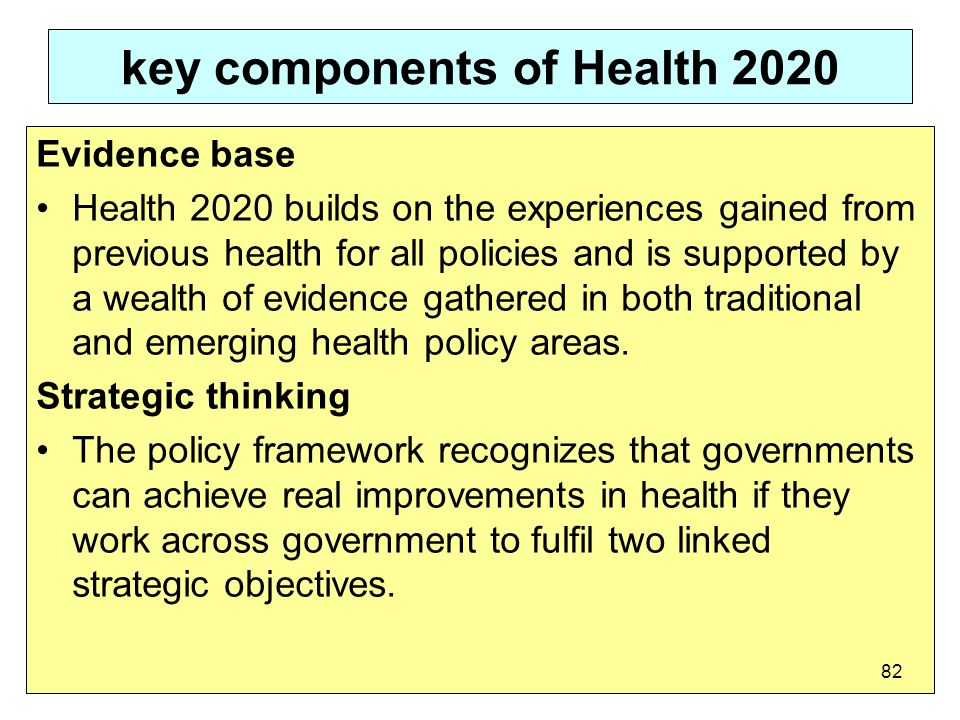 key components of Health 2020