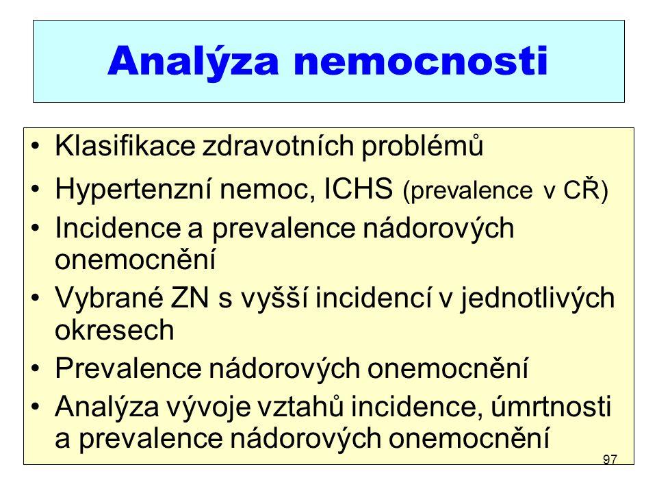 Analýza nemocnosti Klasifikace zdravotních problémů