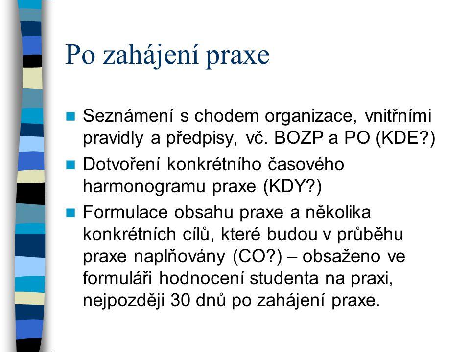 Po zahájení praxe Seznámení s chodem organizace, vnitřními pravidly a předpisy, vč. BOZP a PO (KDE )