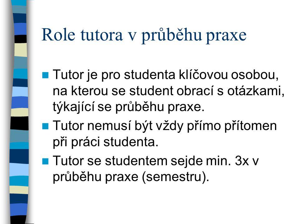 Role tutora v průběhu praxe