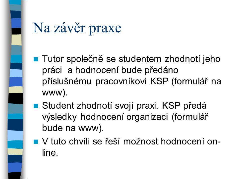 Na závěr praxe Tutor společně se studentem zhodnotí jeho práci a hodnocení bude předáno příslušnému pracovníkovi KSP (formulář na www).