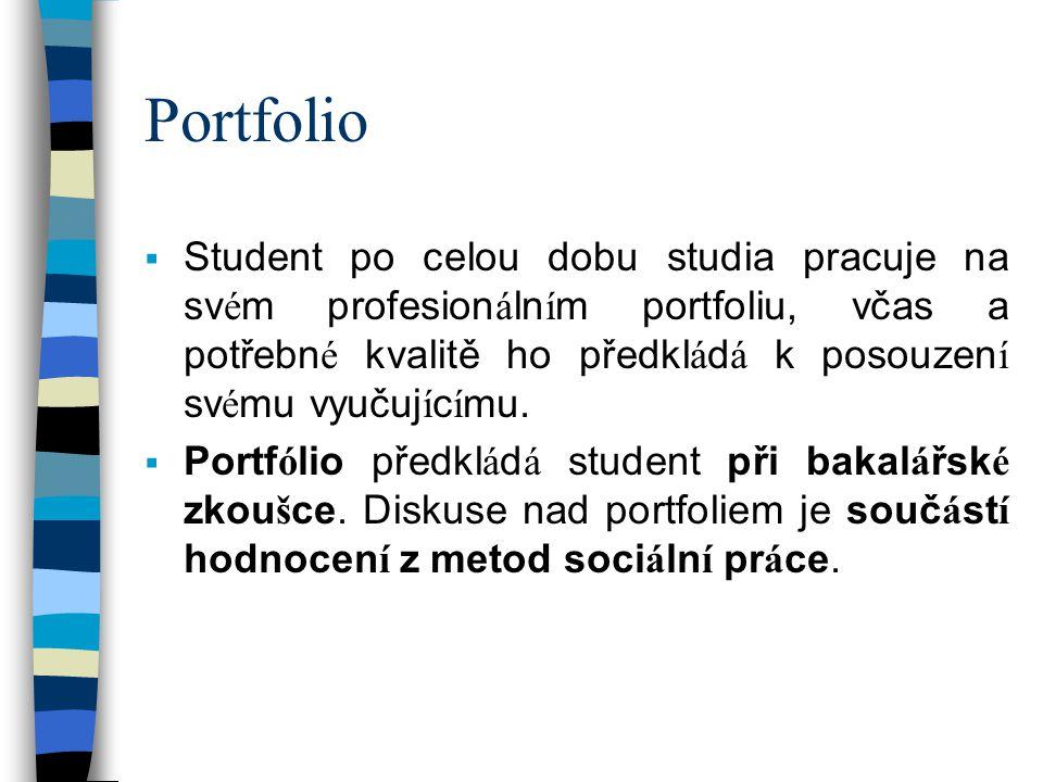 Portfolio Student po celou dobu studia pracuje na svém profesionálním portfoliu, včas a potřebné kvalitě ho předkládá k posouzení svému vyučujícímu.