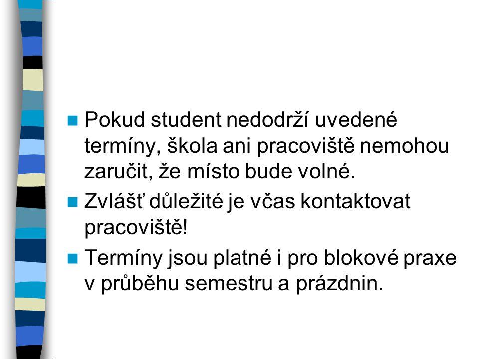 Pokud student nedodrží uvedené termíny, škola ani pracoviště nemohou zaručit, že místo bude volné.