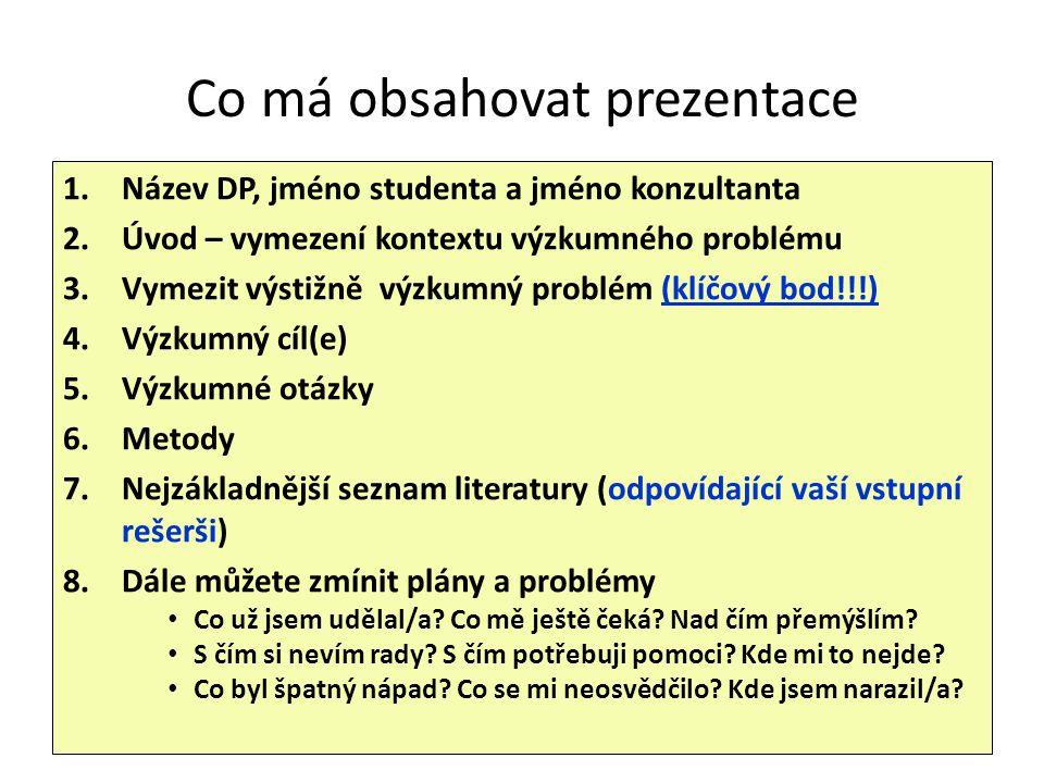 Co má obsahovat prezentace