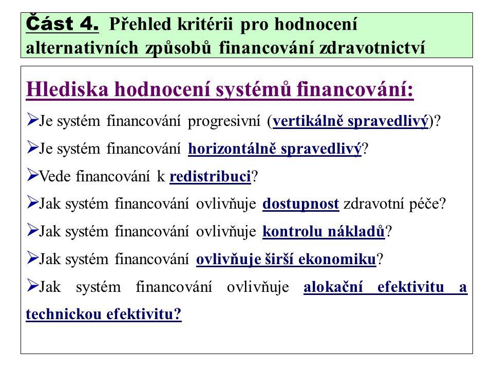Hlediska hodnocení systémů financování: